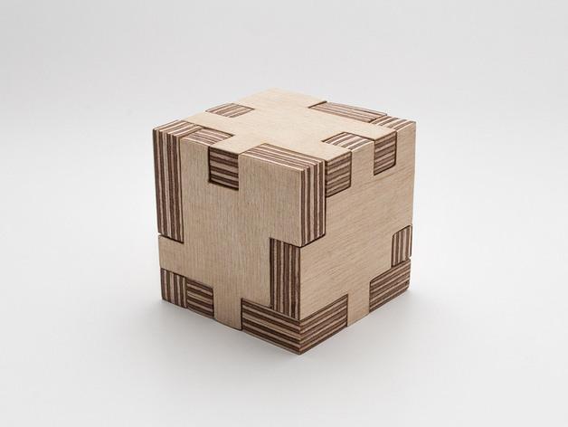 Puzzle Cube 3d Laser Cut Free DXF File