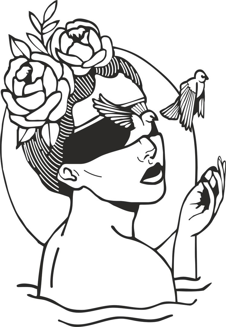 Beauty Birds Interior Free CDR Vectors Art
