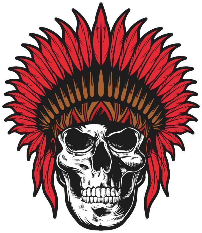 Indian Skull Print Free CDR Vectors Art