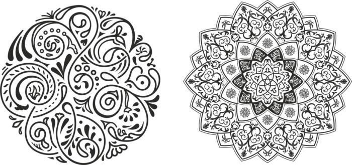 Round Ornament Pair Free CDR Vectors Art