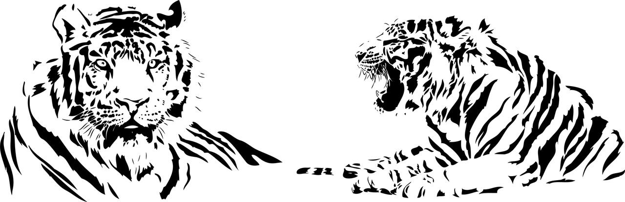 Tiger Stencil Set Free CDR Vectors Art