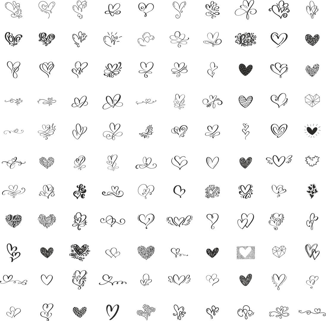 Valentine Handdrawn Hearts Pack Free CDR Vectors Art