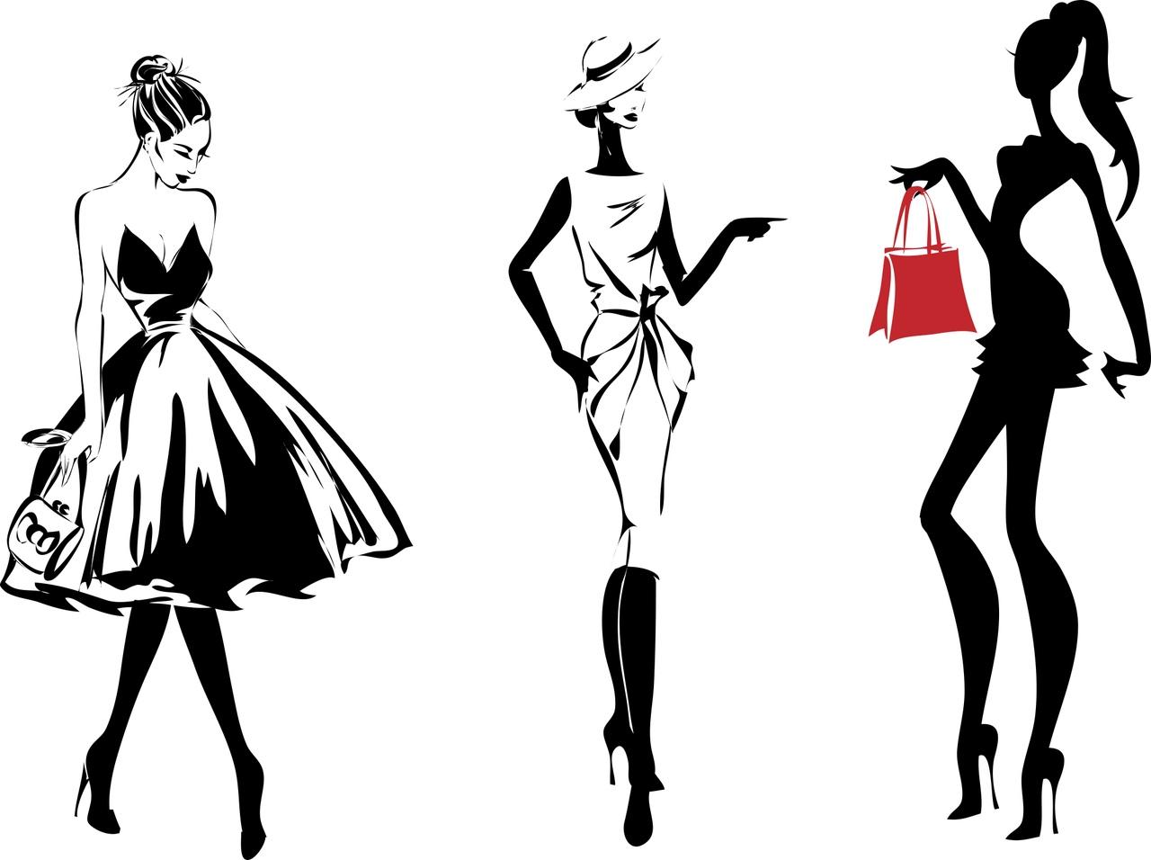 Fashion Girls Silhouette Free CDR Vectors Art