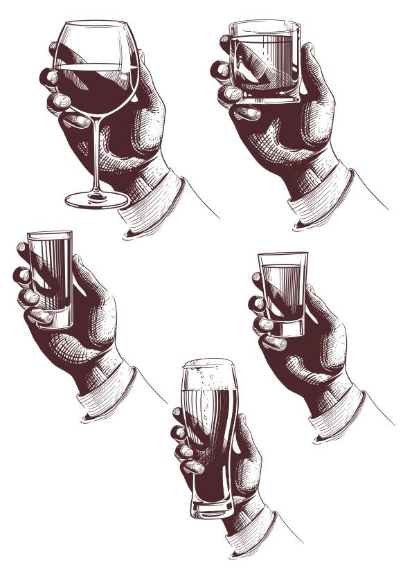Hand With Drink Free CDR Vectors Art