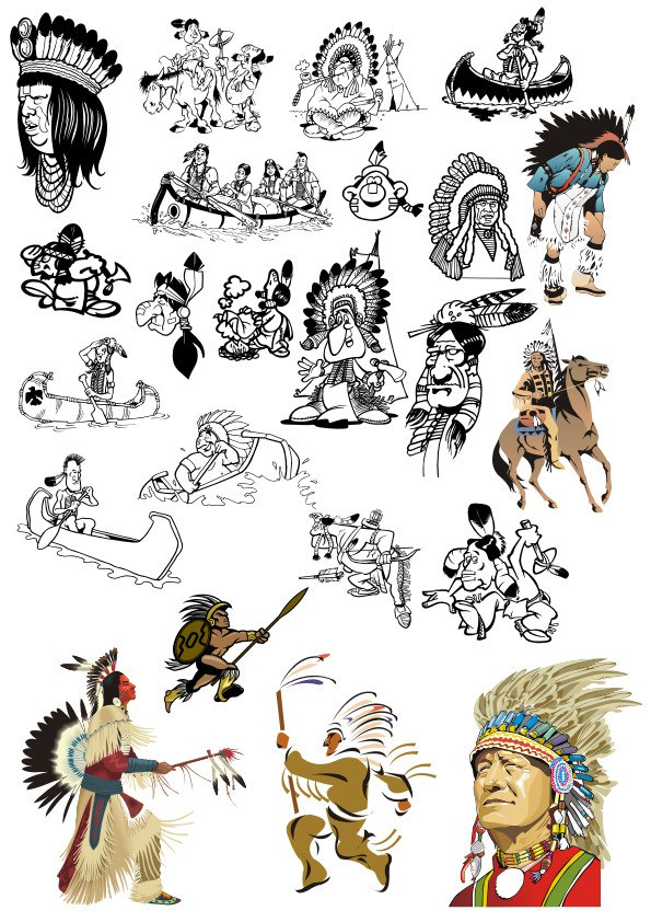 Indians Vector Set Free CDR Vectors Art