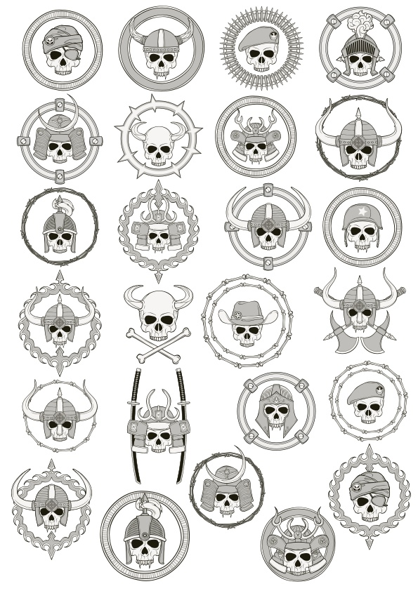 Medievial Skull Set Free CDR Vectors Art