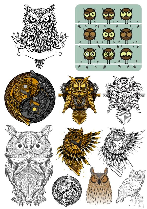 Owl Bird Vector Set Free CDR Vectors Art