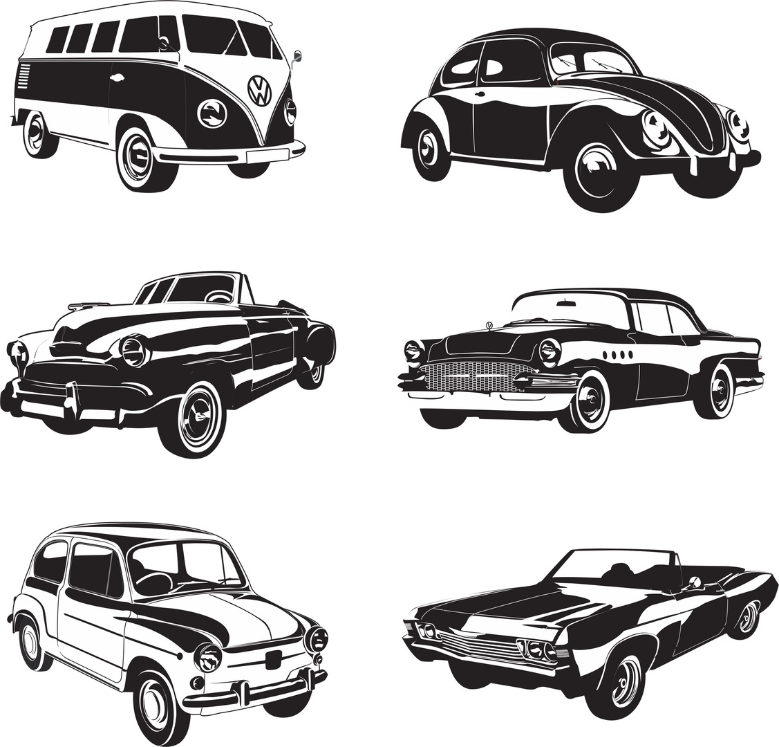 Retro Cars Set Free CDR Vectors Art