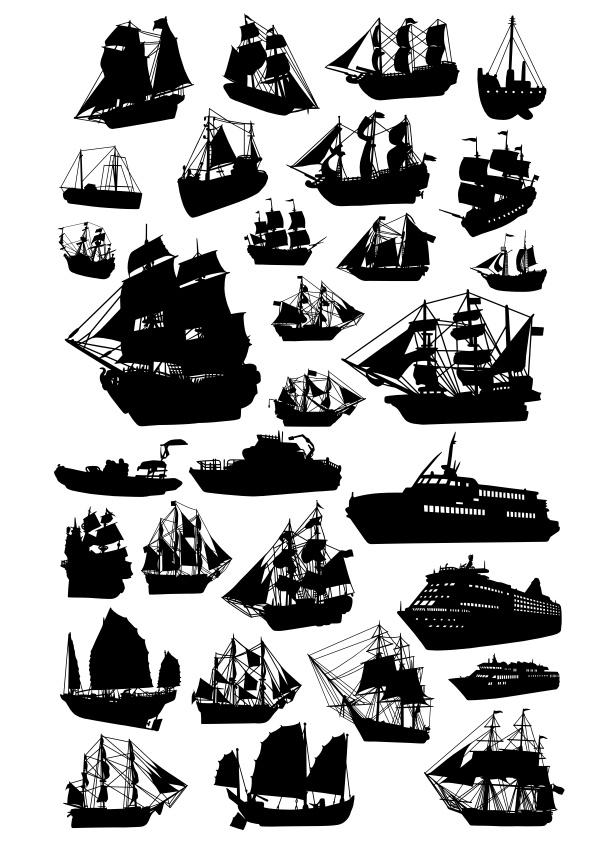 Ship Silhouette Vector Set Free CDR Vectors Art