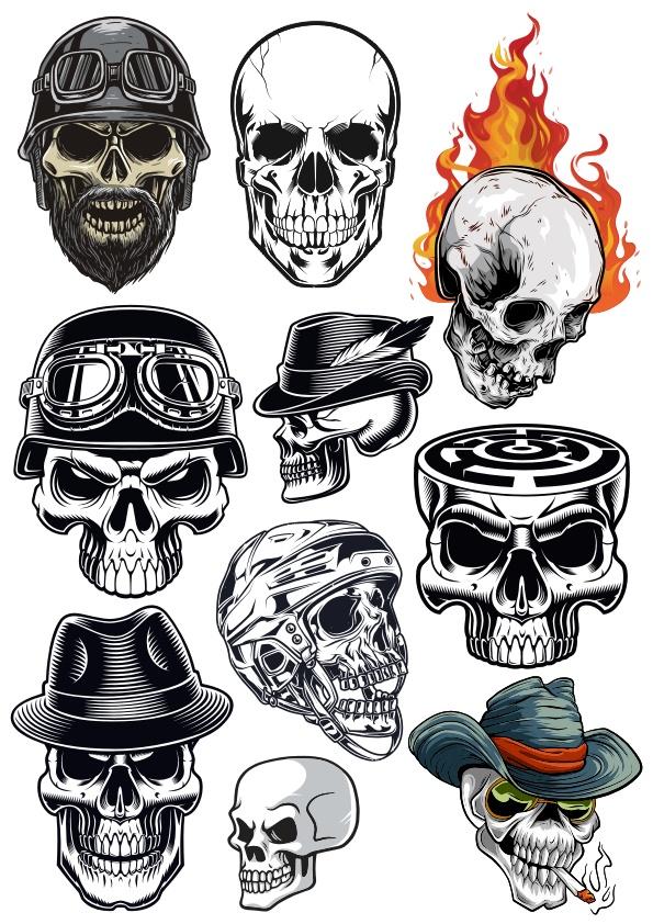 Skull Vector Horror Set Free CDR Vectors Art