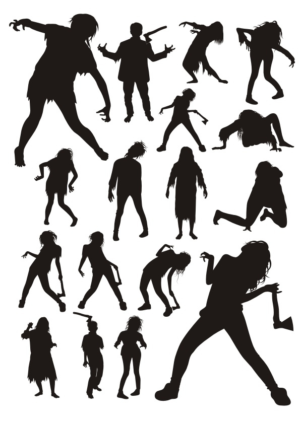 Zombie Silhouettes Free CDR Vectors Art