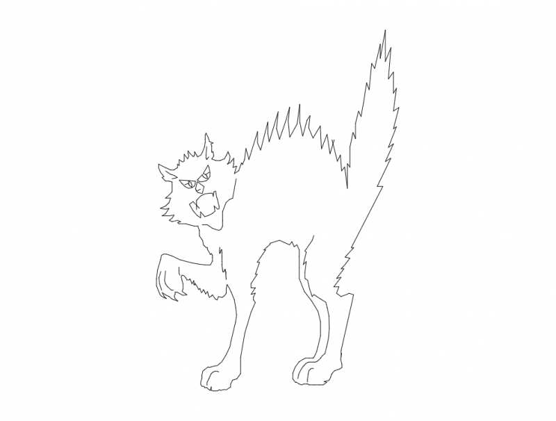 Angry Cat Silhouette Free DXF File