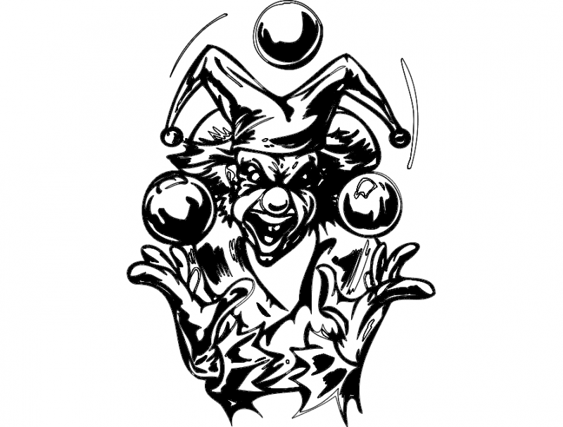 Ball Swing Clown Bw Free DXF File