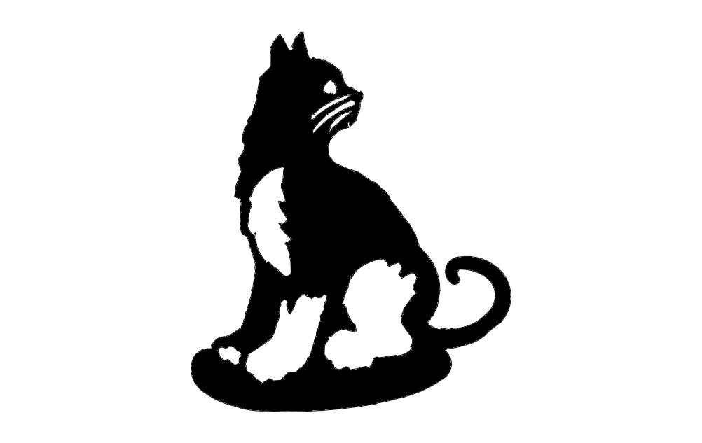 Black And White Sitting Cat Sketch Free DXF File