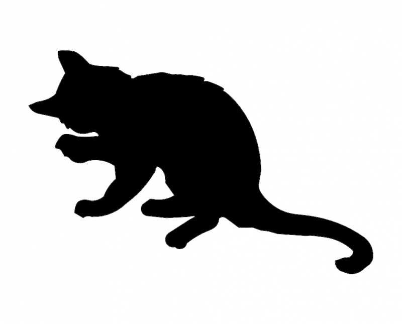 Cat Kitten Silhouette Sketch Free DXF File