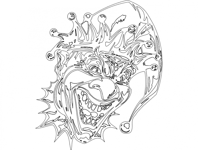 Clown Head Free DXF File