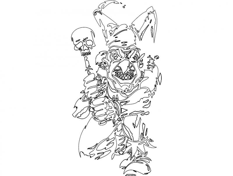 Clown Mask Free DXF File