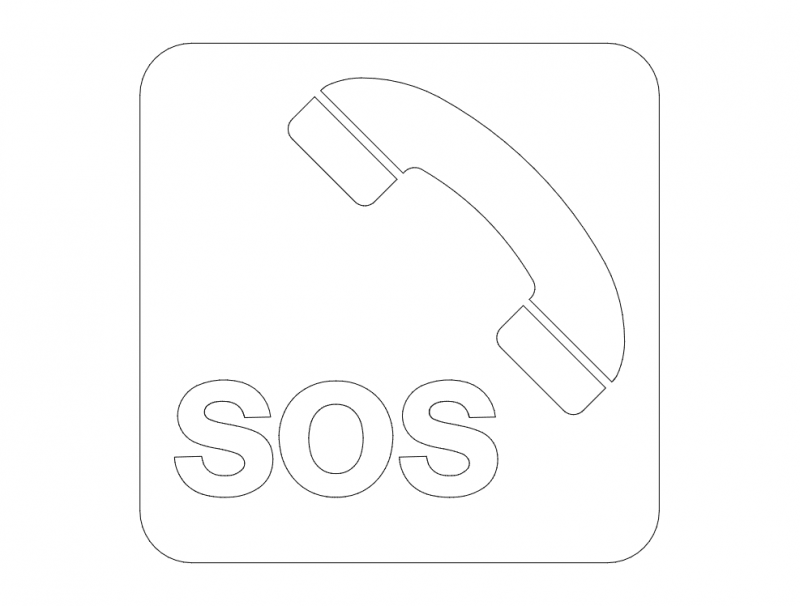Sos Sign And Phone Box On Highway Free DXF File