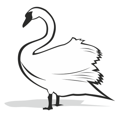 Black And White Swan Silhouette Clip Art Free CDR Vectors Art