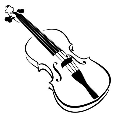 Line Art Blak And White Violin Clip Art Free CDR Vectors Art