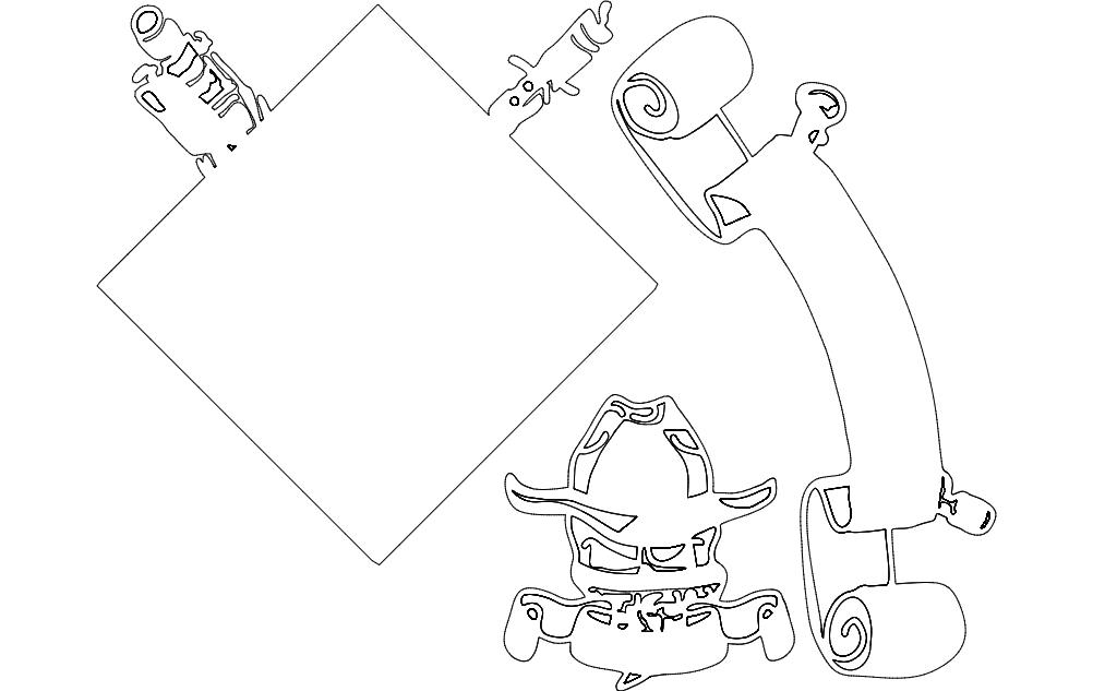 Alpha Battery Sketch Design Free DXF File