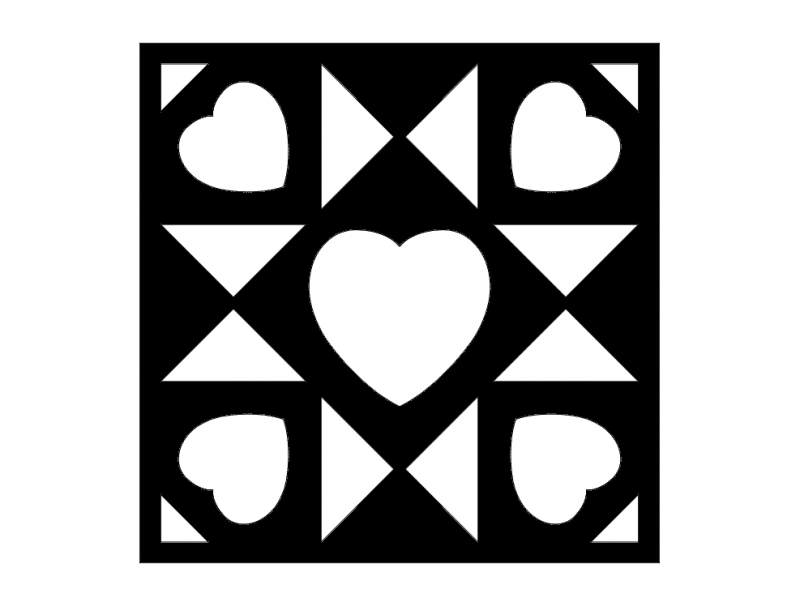 Barn Quilt Love Hearts Free DXF File