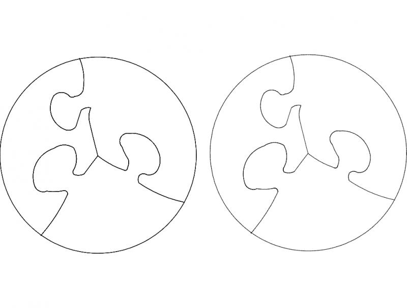 Circular Shape Jigsaw Round Puzzle Free DXF File