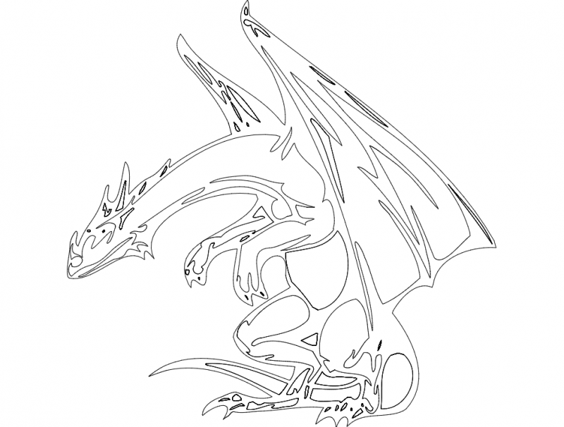 Dragon 021bw Drawing Free DXF File