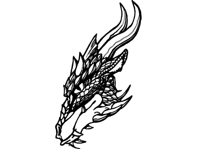 Dragon Head Sketch Free DXF File