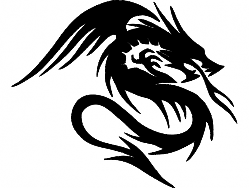 Dragon Silhouette Sketch Free DXF File