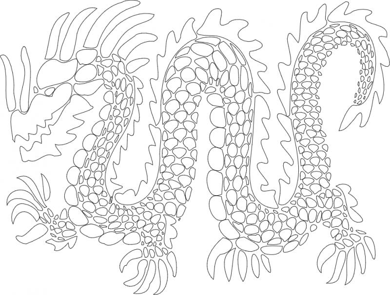 Dragon Sketch Drawing Free DXF File