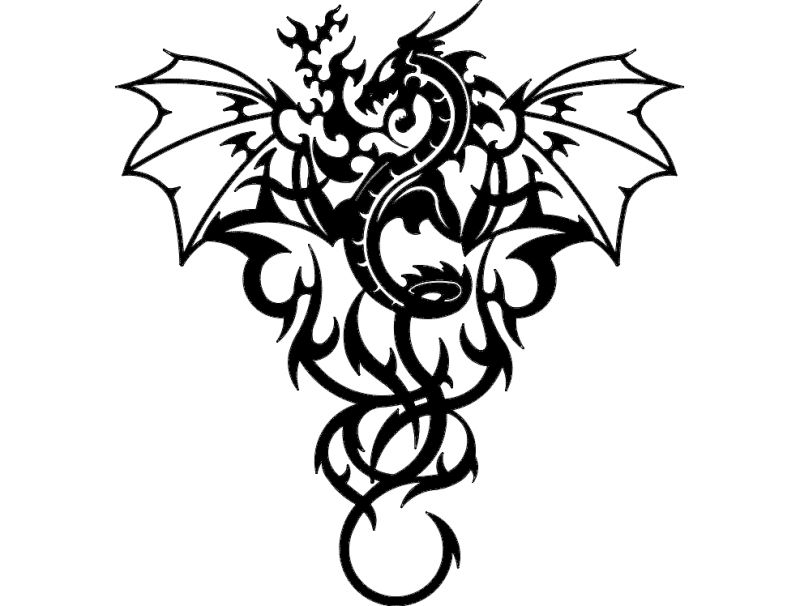 Dragon Tattoo Drawing Free DXF File