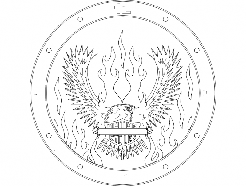 Eagle Motor Cycles Emblem Design Free DXF File
