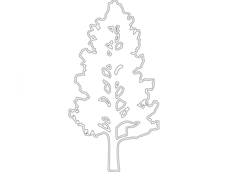 Floral Tree Art Free DXF File