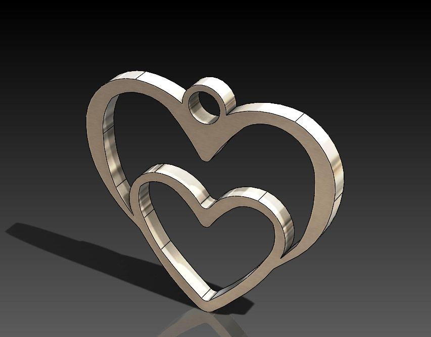 Heart In Heart Pendant Free DXF File