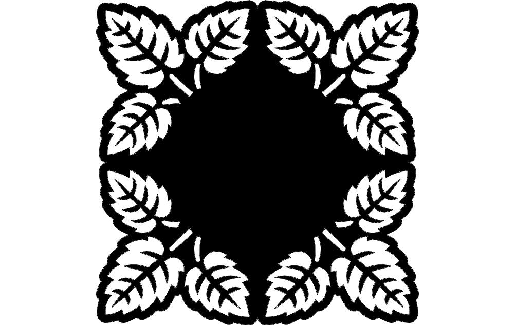 Laser Cut Decorative Grille Pattern Tree Leaf Pattern Free DXF File