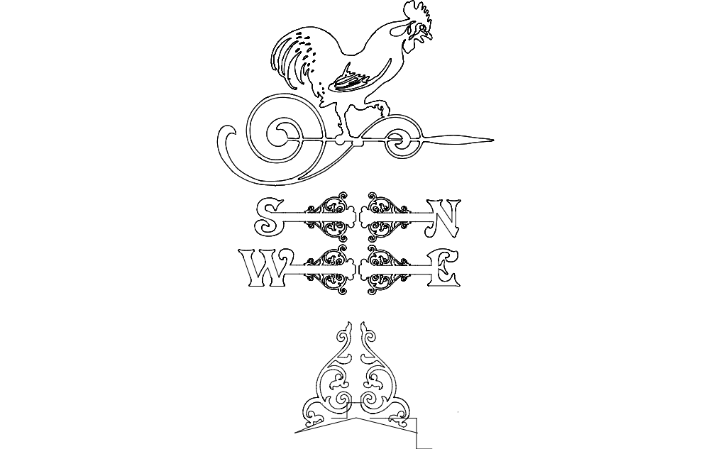 Rooster Weather Vane Victorian Free DXF File