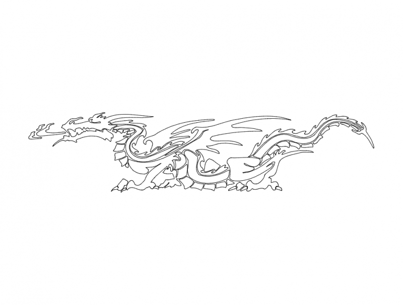 Simple Dragon Drawing Free DXF File