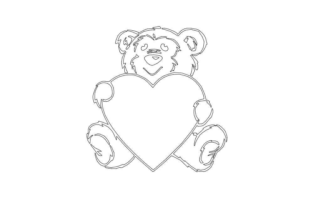 Teddy Bear And Heart Free DXF File