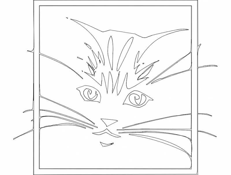 Cute Cat Sketch Free DXF File