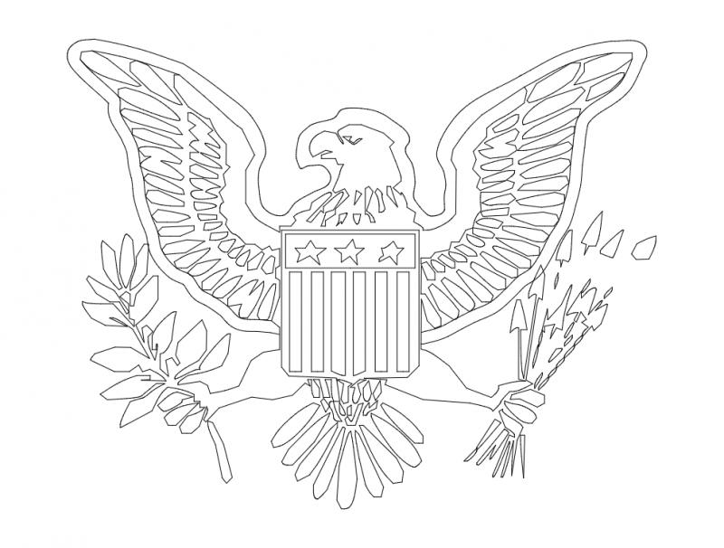 Eagle Emblem Logo Design Free DXF File