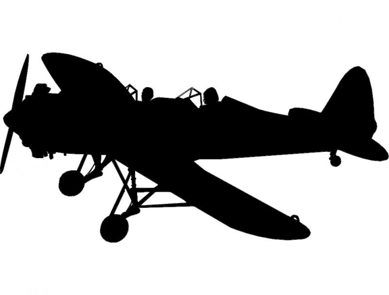 Fighter Aircraft Airplane Silhouette Free DXF File