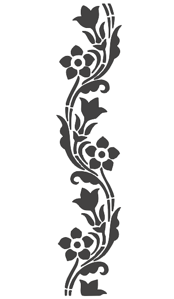 Floral Carving Stencil Silhouette Free DXF File