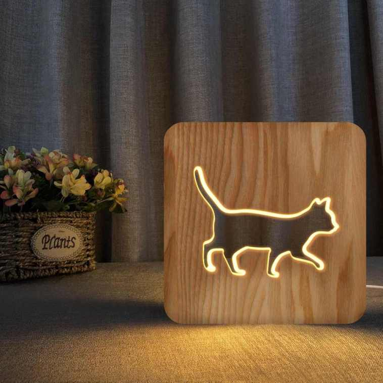 Walking Cat Wooden 3d Night Lamp Laser Cut Free DXF File