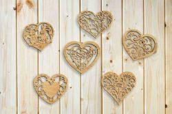 Cnc Laser Cut The Heart Shaped Decorative Pattern Plasma Free CDR Vectors Art