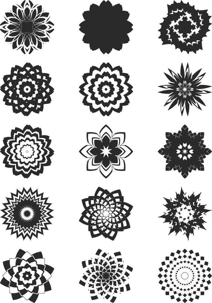 Collection Of Abstract Flowers Free CDR Vectors Art