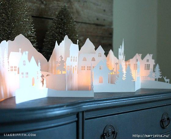 Diy Paper Winter Wonderland Village Free CDR Vectors Art