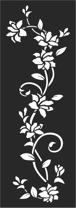 Glass Etching Flower Pattern Wall Decal White Vines Free CDR Vectors Art