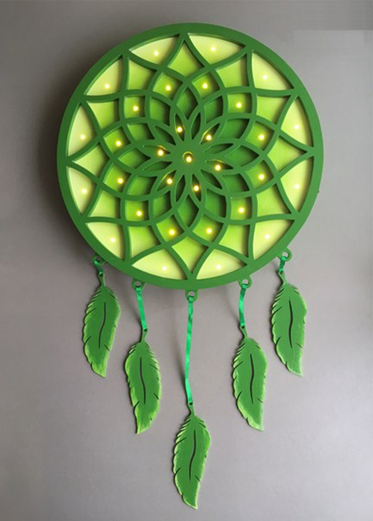 Laser Cut Dreamcatcher With Feathers Free DXF File