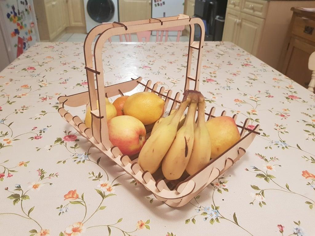 Laser Cut Fruit Basket 3mm Free DXF File